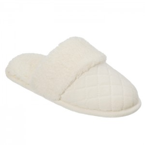 Dearfoams Quilted Velour Scuff Slippers with Wide Cuff Style #60107 - Alabaster
