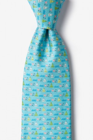 "Novelty Tie ""Love 2 Sail"" - Light Blue - Style #AL301157"