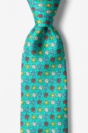 "Novelty Tie ""In Deep Water"" - Aqua  - Style #AL301181"
