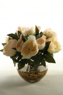 Cream Peonies in Glass Ball