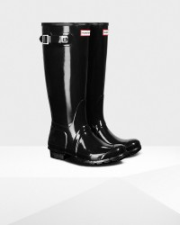 Hunter Women's Original Tall Gloss Rain Boots - Black