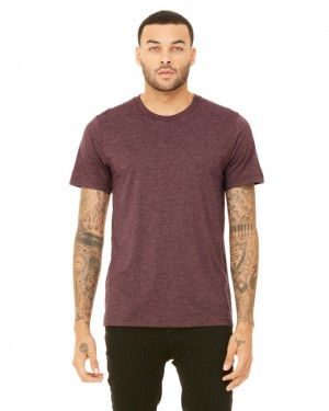 Canvas Short Sleeve Crewneck T-shirt Style #3001C Cotton/Poly Blend - Heather Maroon