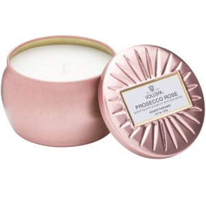 """Voluspa"" Petite Decorative Tin Candle - Prosecco Rose - Style #6826"