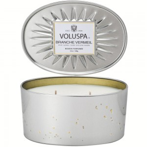 """Voluspa"" Oval Tin 2 Wick Candle - Branche Vermeil - Style #6835"