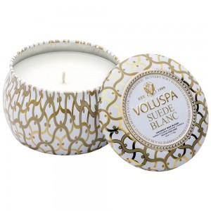 """Voluspa"" Petite Decorative Tin Candle - Suede Blanc - Style #26112"
