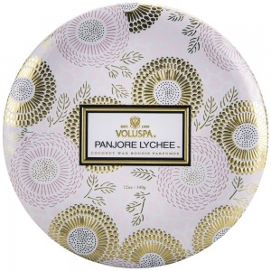 """""""Voluspa"""" 3 Wick Candle In Decorative Tin - Panjore Lychee - Style #7226"""