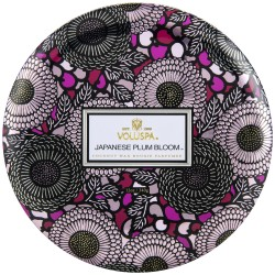 """Voluspa"" 3 Wick Candle In Decorative Tin - Japanese Plum Bloom - Style #72212"