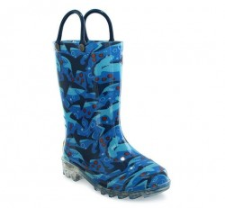 Western Chief Kids Shark Chase Light Up Rain Boots Style #2412106B - Blue