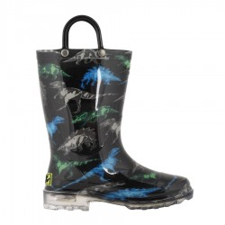 Western Chief Kids Dinosaur Friends Light Up Rain Boot Style #2412353B - Black
