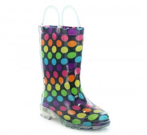 Western Chief Kids Darling Dot Light Up Rain Boots Style #2412108B - Blue