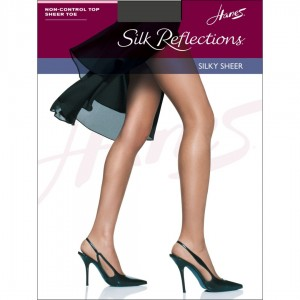Hanes Silk Reflections Sheer Toe Pantyhose Style #715 - Barely Black
