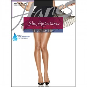 Hanes Silk Reflections Reinforced Toe Pantyhose Style #716 - Jet Black