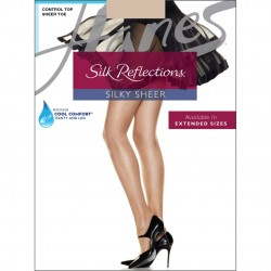Hanes Silk Reflections Control Top Sheer Toe Pantyhose Style #717 - Travel Buff