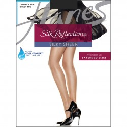 Hanes Silk Reflections Control Top Sheer Toe Pantyhose Style #717 - Jet Black