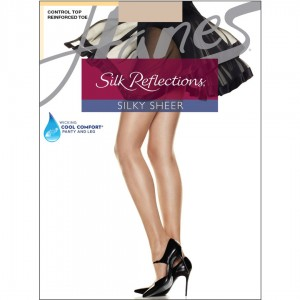 Hanes Silk Reflections Control Top Reinforced Toe Pantyhose Style #718 - Travel Buff