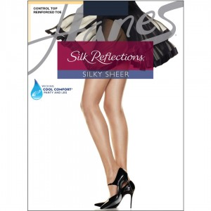 Hanes Silk Reflections Control Top Reinforced Toe Pantyhose Style #718 - Navy