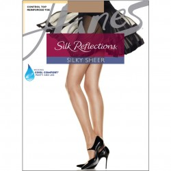 Hanes Silk Reflections Control Top Reinforced Toe Pantyhose Style #718 - Barely There