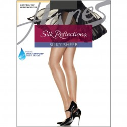Hanes Silk Reflections Control Top Reinforced Toe Pantyhose Style #718 - Barely Black