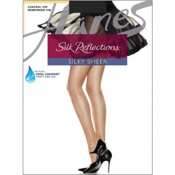 Hanes Silk Reflections Control Top Reinforced Toe Pantyhose Style #718 - Jet Black