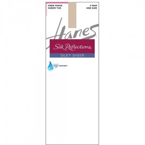 Hanes Silk Reflections Silky Sheer Knee Highs 2-Pack Style #725 - Travel Buff