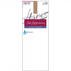 Hanes Silk Reflections Silky Sheer Knee Highs 2-Pack Style #725 - Barely There