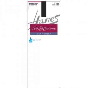 Hanes Silk Reflections Silky Sheer Knee Highs 2-Pack Style #725 - Jet Black