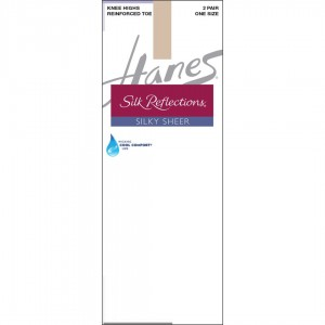 Hanes Silk Reflections Silky Sheer Knee Highs with Reinforced Toe 2-Pack Style #775 - Travel Buff