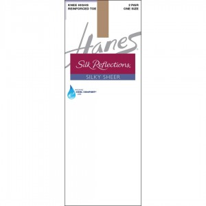Hanes Silk Reflections Silky Sheer Knee Highs with Reinforced Toe 2-Pack Style #775 - Barely There