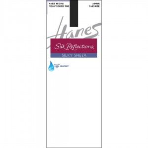 Hanes Silk Reflections Silky Sheer Knee Highs with Reinforced Toe 2-Pack Style #775 - Jet Black