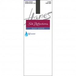 Hanes Silk Reflections Silky Sheer Knee Highs with Reinforced Toe 2-Pack Style #775 - Barely Black