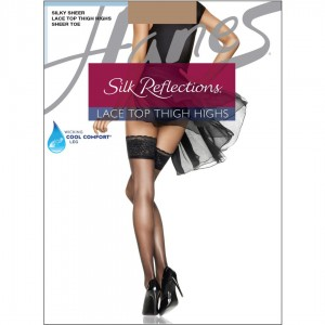 Hanes Silk Reflections Lace Top Thigh Highs Style #0A444 - Barely There
