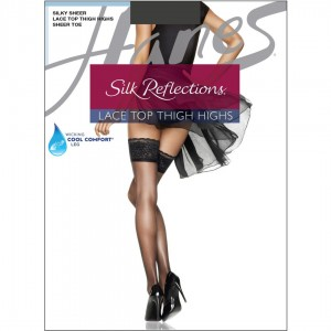 Hanes Silk Reflections Lace Top Thigh Highs Style #0A444 - Barely Black