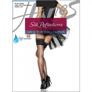 Hanes Silk Reflections Lace Top Thigh Highs Style #0A444 - Jet Black