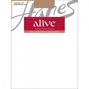 Hanes Alive Full Support Control Top Reinforced Toe Pantyhose Style #810 - Barely There