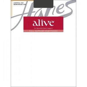 Hanes Alive Full Support Control Top Reinforced Toe Pantyhose Style #810 - Barely Black