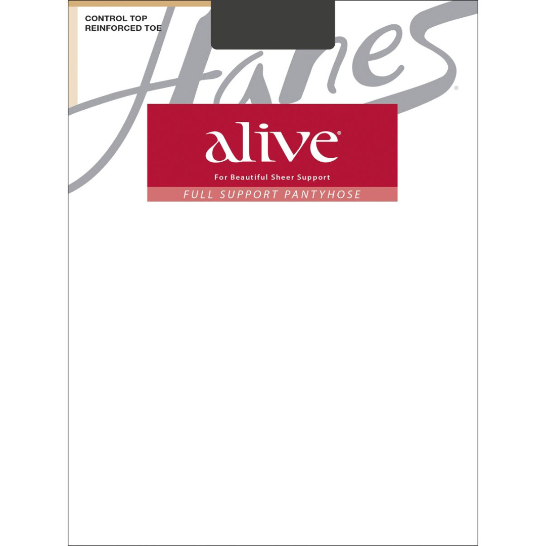 946a404b599 Hanes Alive Full Support Control Top Reinforced Toe Pantyhose Style  810 -  Barely Black