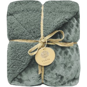 "Verse Reversible Soft Velvet Luxury Berber Throw Blanket   50"" x 60"" - Seafoam"