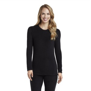 Cuddl Duds Fleecewear with Stretch Long Sleeve Crewneck Top Style #CD8412065 & #CD8420865 - Black