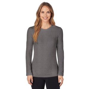 Cuddl Duds Fleecewear with Stretch Long Sleeve Crewneck Top Style #CD8412065 & #CD8420865 - Charcoal Heather