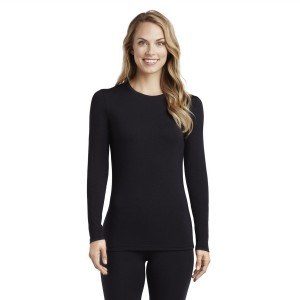 Cuddl Duds Softwear with Stretch Long Sleeve Crew Neck Top Style #CD8420816 - Black