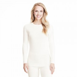 Cuddl Duds Softwear with Stretch Long Sleeve Crew Neck Top Style #CD8420816 - Ivory