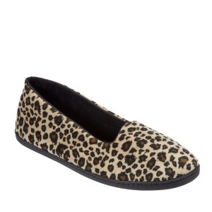 Dearfoams Microfiber Velour Closed Back Slipper Style #51701 - Leopard