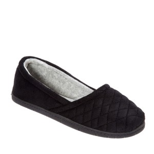 Dearfoams Quilted Velour Espadrille Style #51704 - Black