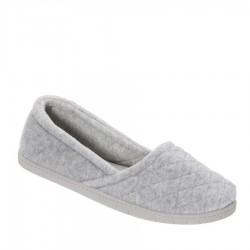 Dearfoams Quilted Velour Espadrille Style #51704 - Light Heather Grey