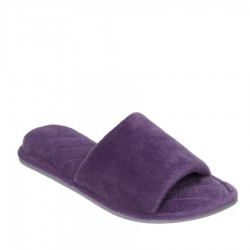 Dearfoams Microfiber Velour Slide Style #51706 - Smokey Purple