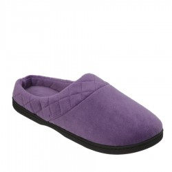 Dearfoams Microfiber Velour Clog with Quilted Cuff Style #51708 - Smokey Purple