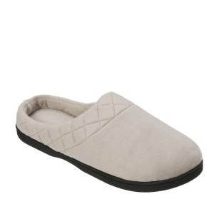 Dearfoams Microfiber Velour Clog with Quilted Cuff Style #51708 - Pewter