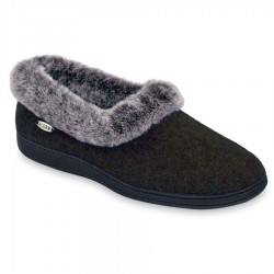 Acorn Womens Chinchilla Collar Slipper Style #A10765AAA - Black