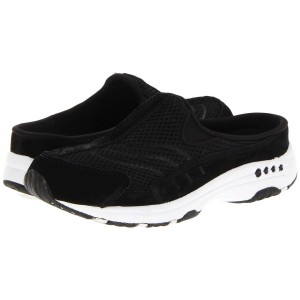 Easy Spirit Womens Travel Time Classic Clogs - Black and White