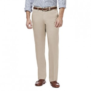 Haggar Premium Straight-Fit Non-Iron Stretch Flat-Front Pants - Khaki